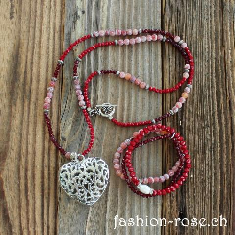 Halskette mit Armband in rot