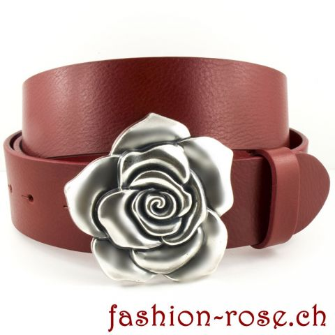 """The rose eternity"" Gürtelschnalle & Ledergürtel Classico rot"