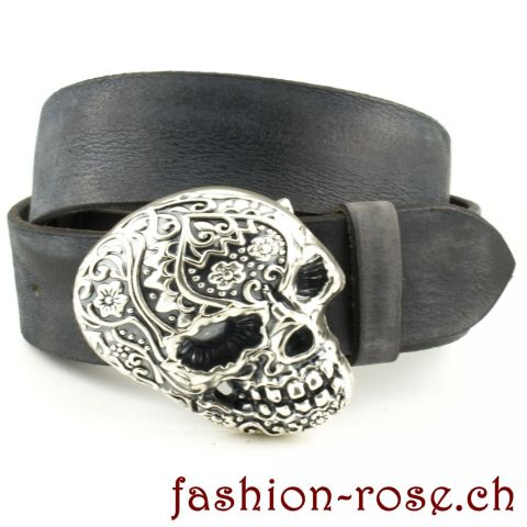 *Belt buckle skull decorated* Anthrazit Ledergürtel mit Gürtelschnalle TOTENKOPF