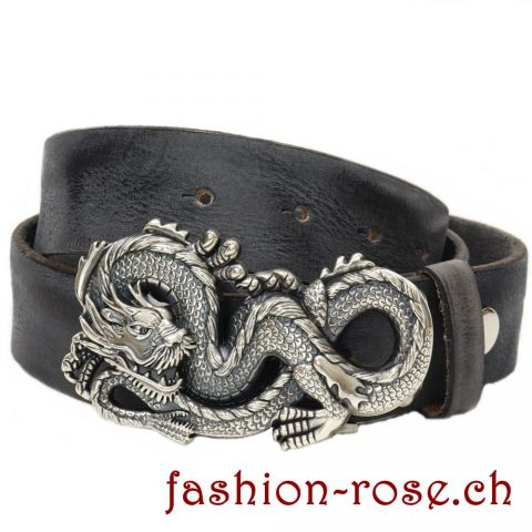 Set Lederguertel in Vintage Look mit Dragon Guertelschnalle